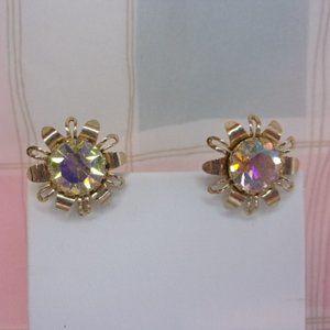 Vintage Aurora Borealis Rhinestone Floret Screw Back Earrings